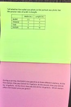 Rates and Ratio Foldable