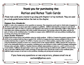 Rates and Ratio Task Cards