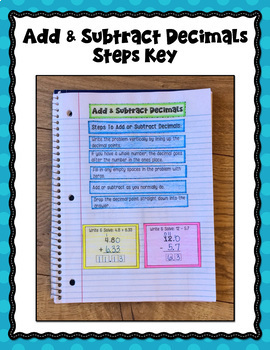 Adding and Subtracting Decimals Interactive Notebook
