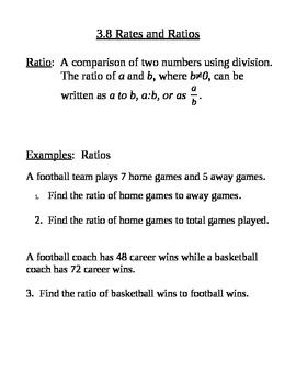 Rates and Ratios Notes