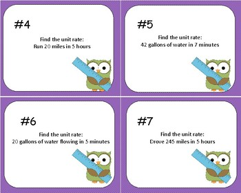 Rates and Ratios Task Cards