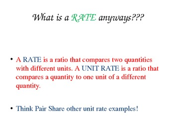Rates and Unit Rates Powerpoint