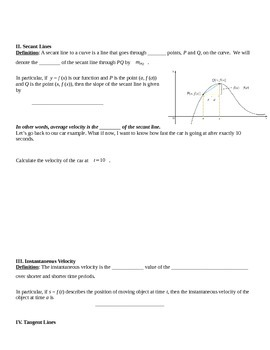 Rates of Change and Tangent Lines Notes