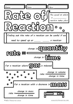 Rates of Chemical Reactions Middle, High School Chemistry Doodle Notes, Science