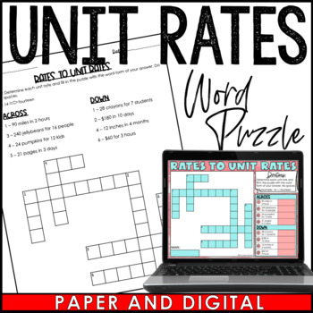 Rates to Unit Rates Crossword Puzzle Activity