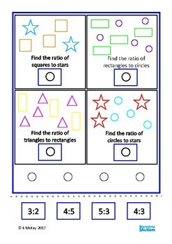 Ratio Count Match Autism Special Education Independent Task