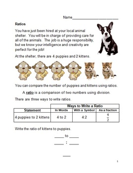 Ratio Guided Notes, Worksheets, Matching Activity, and PowerPoint