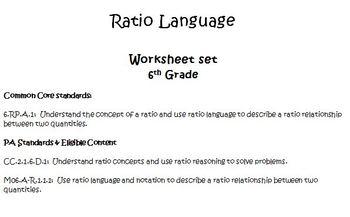 Ratio Language Worksheet Set