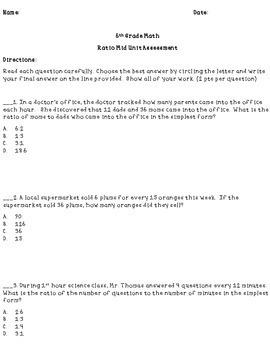 Ratio Mid-Unit Assessment 6th Grade