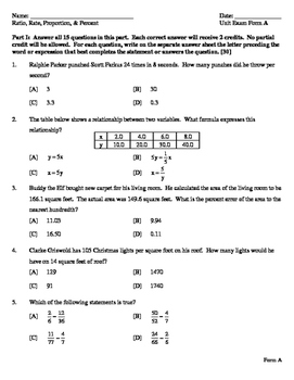 Ratio Percent, Proportion, and Direct Variation - Unit Exam 2 Forms with KEY
