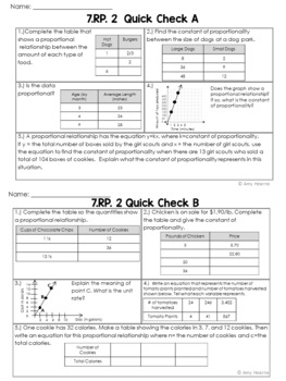 7th Grade Common Core Ratio & Proportion Quick Check Sheets & Posters