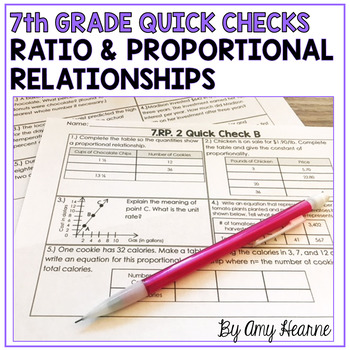 7th Grade Common Core Ratio & Proportion Quick Check Sheet