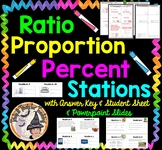 Ratio Proportion Percent STATIONS Smartboard Task Cards Student Work Template