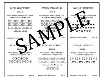 Ratio & Proportion Task Cards Bundle: Real World Problem Solving Levels 1 - 6