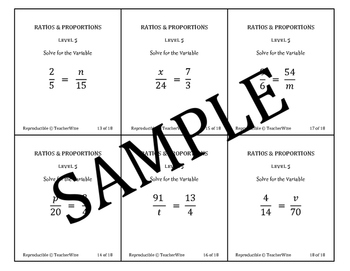 Ratio & Proportion Task Cards: Solve Proportions For the V