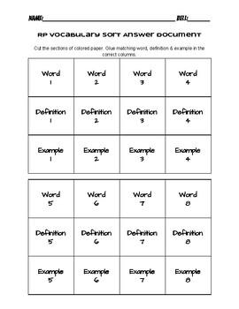 Ratio & Proportion Vocabulary Sort