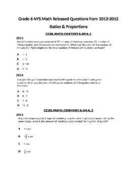 Ratio & Proportions NYS Released Questions 2013-2015