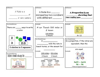 Ratio, Rate, Proportion Foldable