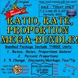 Ratio, Rate, Proportion, Percent, Change, Discount, Markup, Tax, Tip Mega Bundle