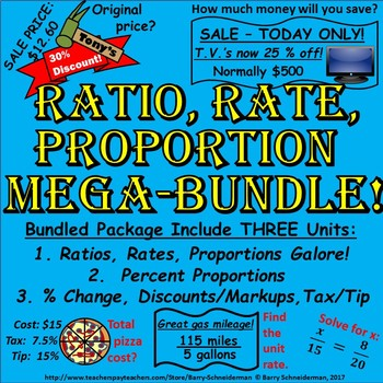 Ratio, Rate, Proportion, Percent, Change, Discount, Markup, Tax, Tip Mega Bundle