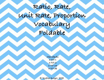 Ratio, Rate, Unit Rate, Proportion Vocabulary Foldable