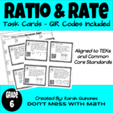 Ratio, Rate & Unit Rate Task Cards - QR Code Task Cards Included