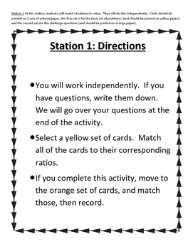Ratio, Rate, and Unit Rate Station Review