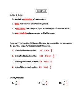 6th Grade CC Math Unit 2 (Ratios, Rates, and Proportions) Test (Regular Edition)