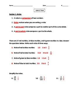 6th Grade Common Core Math Unit 2 Test (Accommodated Edition)