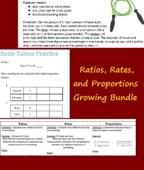 Ratio, Rates, and Proportions Growing Bundle