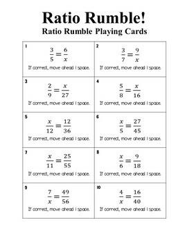 Ratio Rumble Math Board Game