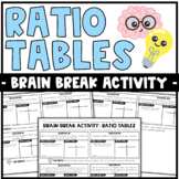 Brain Breaks Activity: Ratio Tables | Partner Activity or