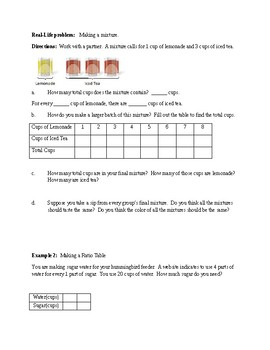 Ratio Tables- Introduction