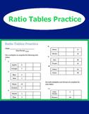 Ratio Tables Practice