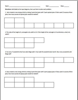 Ratio Tape Diagram Worksheets