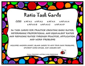 Ratio Task Cards 6.RP.A.1,6.RP.A.2, 6.RP.A.3, 6.RP.A.3.A, 6.RP.A.3.B, 6.RP.A.3.C