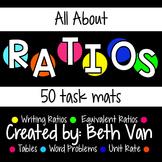 Ratio Task Mats (Writing Ratios, Equivalent Ratios, Unit Rate, Tables)