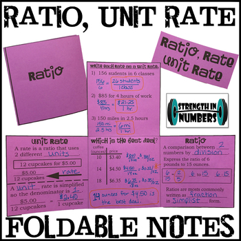 Ratio Unit Rate Foldable Notes Interactive Notebook