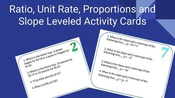 Ratio, Unit Rate, Proportion, and Slope Leveled Activity Review