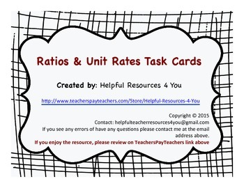 Ratio & Unit Rate Task Cards