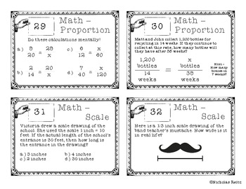 Ratio, Unit Rates, Proportion, and Scale Task Cards
