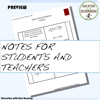 Ratio Word Problems Interactive Notebook Graphic Organizer and Practice