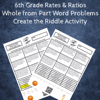 Ratio Word Problems Whole-from-Part Create the Riddle Activity