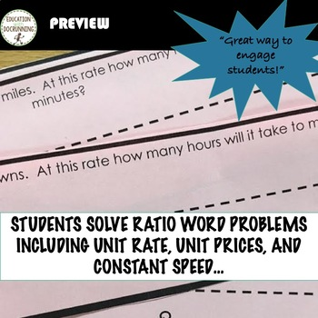 Ratio Word Problems including Unit Rate and Unit Price Paper Chain Activity