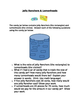 Ratio and Decimal Project: Jolly Ranchers and Lemonheads HIGHER LEVEL