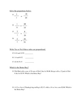 Ratio and Proportion 6th Grade Test