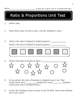 Ratio and Proportion Assessments: 6.RP.1-3