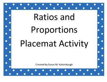 Ratio and Proportion Placemat Activity