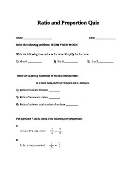 Ratio and Proportion Quiz