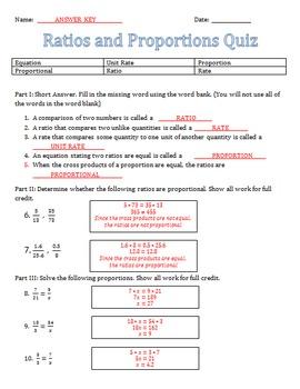 Ratio and Proportion Quiz